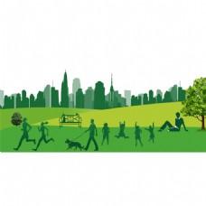 绿色风景建筑png免扣元素