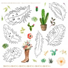 手绘时尚叶子图案