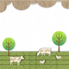 手绘牛吃草png免扣元素
