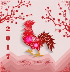 梅花公鸡中国传统春节剪纸矢量素材