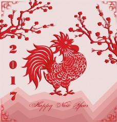 红色大公鸡中国传统春节剪纸矢量素材