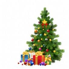 手绘圣诞树礼物元素