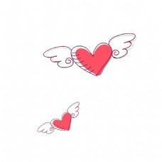 带翅膀的红心png免扣元素