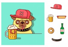狗狗喝啤酒矢量素材