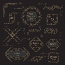 箭头复古花纹边框装饰图案矢量