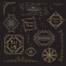 字符创意花纹边框装饰图案矢量