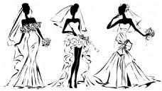 手绘时尚婚纱人物插画