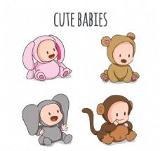 4款可爱动物装婴儿矢量
