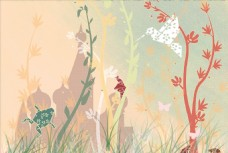 森林城堡动物插画