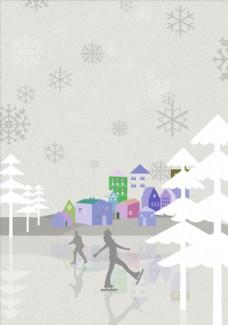 冬季滑冰插画