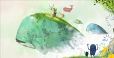 森林鲸鱼魔幻插画