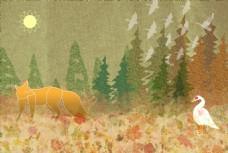 狐狸和天鹅插画