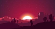 沙漠里的落日插画