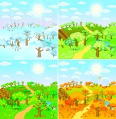春夏秋冬的自然风景插画