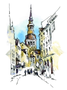 水彩绘街角的建筑插画