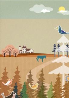 农村风景插画