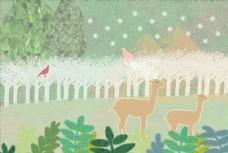 森林麋鹿插画