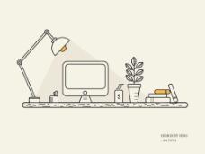办公桌插画