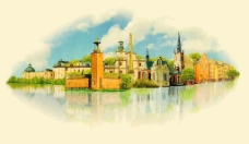 复古水彩绘建筑插画