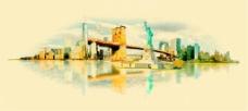 水彩绘美国城市建筑插画