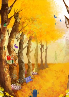 秋天森林插画