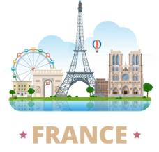 时尚法国建筑插画