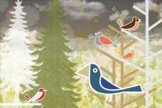 森林小鸟插画