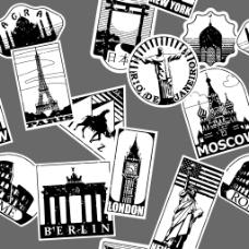 黑白景点建筑插画