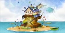 海滩城堡插画