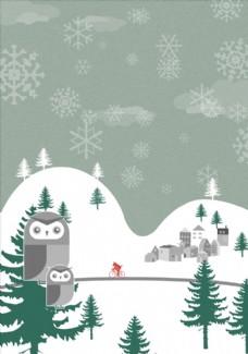 冬季森林猫头鹰插画