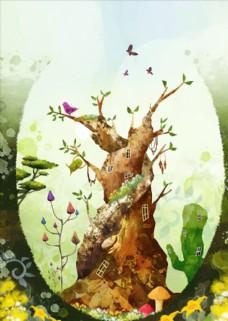 森林大树插画
