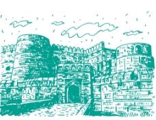 手绘建筑城楼插画