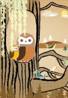 森林猫头鹰插画