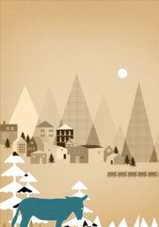 城市森林动物插画