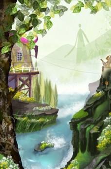 森林树屋插画