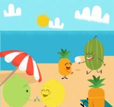 创意海边度假的水果们矢量