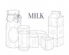 手绘牛奶和奶酪插画
