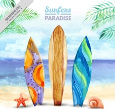 3个立在沙滩上的彩色冲浪板矢量