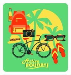 夏天旅行用品插画