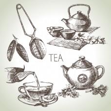 手绘素描茶叶插画
