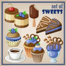 蓝莓巧克力蛋糕插画