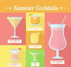 6款彩色夏季鸡尾酒矢量