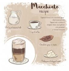 手绘美味的咖啡插画