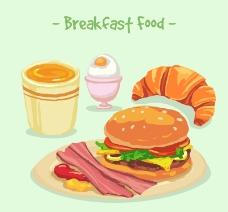 4款美味早餐食物矢量