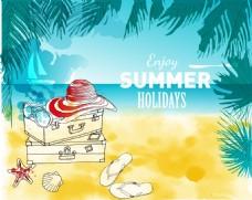 水彩绘夏天沙滩旅行插画