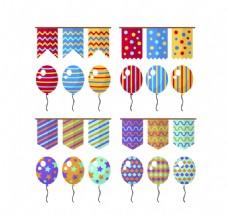 16款彩色节日拉旗和气球矢量