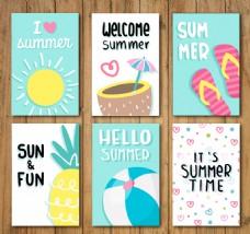 6款夏季度假卡片设计矢量