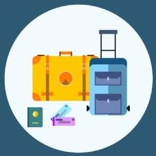 扁平创意旅行箱插画