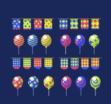 16款彩色拉旗和气球矢量