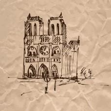 时尚手绘建筑插画